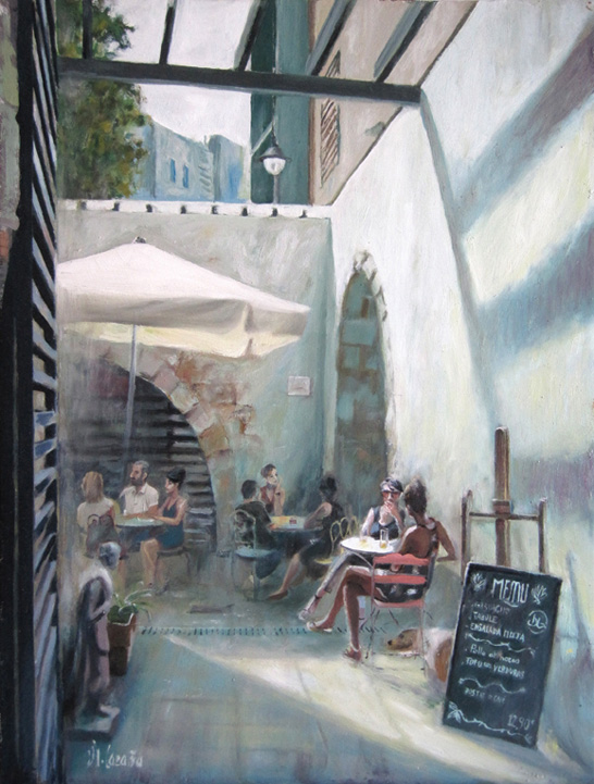 Pintura al óleo sobre un bar de Barcelona